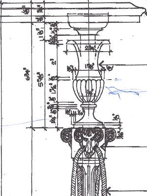 Custom cast bronze column based on Client's design